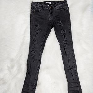 Forever21 Black Distressed Skinny Jeans